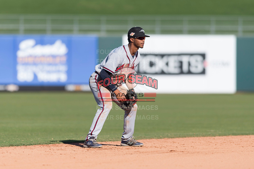 Peoria Javelinas shortstop Ray-Patrick Didder (1), of the Atlanta Braves organization, during an Arizona Fall League game against the Surprise Saguaros at Surprise Stadium on October 17, 2018 in Surprise, Arizona. (Zachary Lucy/Four Seam Images)