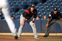 Richmond Flying Squirrels catcher Steven Lerud (19) leads off first base during a game against the Akron RubberDucks on July 26, 2016 at Canal Park in Akron, Ohio .  Richmond defeated Akron 10-4.  (Mike Janes/Four Seam Images)