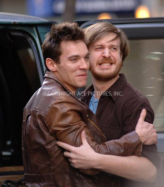 "WWW.ACEPIXS.COM . . . . .  ....NEW YORK, MARCH 8, 2006....Jonathan Rhys Meyers filming on the set of ""August Rush"".....Please byline: BRETT KAFFEE-ACEPIXS.COM.... *** ***..Ace Pictures, Inc:  ..Philip Vaughan (212) 243-8787 or (646) 769 0430..e-mail: info@acepixs.com..web: http://www.acepixs.com"