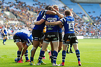 Max Wright of Bath Rugby celebrates his try with team-mates. Heineken Champions Cup match, between Wasps and Bath Rugby on October 20, 2018 at the Ricoh Arena in Coventry, England. Photo by: Patrick Khachfe / Onside Images