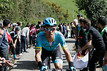 Luis Leon Sanchez (ESP) Astana Pro Team first up the Ixua a brutal 20% off road climb during Stage 5 of the Tour of the Basque Country 2019 running 149.8km from Arrigorriaga to Arrate, Spain. 12th April 2019.<br /> Picture: Colin Flockton | Cyclefile<br /> <br /> <br /> All photos usage must carry mandatory copyright credit (© Cyclefile | Colin Flockton)