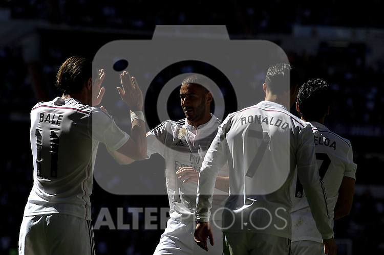 Real Madrid´s Gareth Bale, Karim Benzema and Cristiano Ronaldo celebrates a goal during 2014-15 La Liga match between Real Madrid and Granada at Santiago Bernabeu stadium in Madrid, Spain. April 05, 2015. (ALTERPHOTOS/Luis Fernandez)