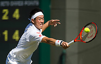 Kei Nishikori of Japan in action during his victory over Sergiy Stakhovsky of Ukraine in their Men's Singles Second Round Match today - Nishikori def Stakhovsky 6-4, 6-7, 6-1, 7-6<br /> <br /> Photographer Ashley Western/CameraSport<br /> <br /> Wimbledon Lawn Tennis Championships - Day 3 - Wednesday 5th July 2017 -  All England Lawn Tennis and Croquet Club - Wimbledon - London - England<br /> <br /> World Copyright &not;&copy; 2017 CameraSport. All rights reserved. 43 Linden Ave. Countesthorpe. Leicester. England. LE8 5PG - Tel: +44 (0) 116 277 4147 - admin@camerasport.com - www.camerasport.com
