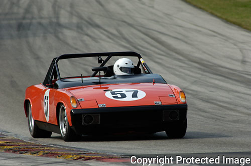 Brian Deford races his 1973 Porsche 914/6 roadster at the Kohler International Challenge with Brian Redman, 2006