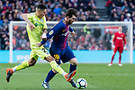Lionel Andres Messi of FC Barcelona (R) fights for the ball with Faycal Fajr of Getafe CF (L) during the La Liga 2017-18 match between FC Barcelona and Getafe FC at Camp Nou on 11 February 2018 in Barcelona, Spain. Photo by Vicens Gimenez / Power Sport Images