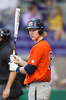 Auburn Tigers first baseman Garrett Cooper #28 at bat against the LSU Tigers in the NCAA baseball game on March 23, 2013 at Alex Box Stadium in Baton Rouge, Louisiana. LSU defeated Auburn 5-1. (Andrew Woolley/Four Seam Images).