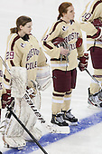 Corinne Boyles (BC - 29), Caitlin Walsh (BC - 11) - The Boston College Eagles defeated the visiting University of Maine Black Bears 10-0 on Saturday, December 1, 2012, at Kelley Rink in Conte Forum in Chestnut Hill, Massachusetts.