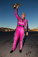 Nov 1, 2015; Las Vegas, NV, USA; NHRA pro stock driver Erica Enders-Stevens celebrates after winning the Toyota Nationals at The Strip at Las Vegas Motor Speedway. Mandatory Credit: Mark J. Rebilas-USA TODAY Sports