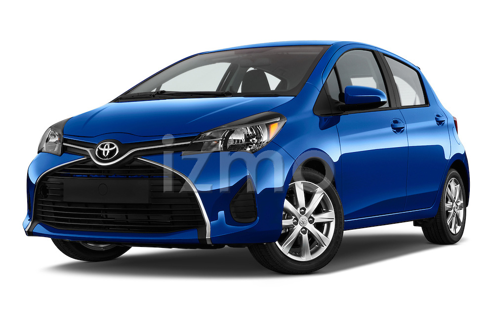 Stock pictures of low aggressive front three quarter view of a 2015 Toyota Yaris Le 5 Door Hatchback