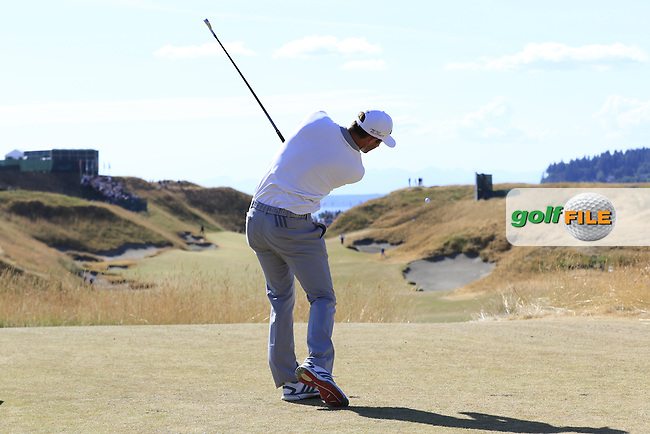 Dustin JOHNSON (USA) tees off the 10th tee during Sunday's Final Round of the 2015 U.S. Open 115th National Championship held at Chambers Bay, Seattle, Washington, USA. 6/22/2015.<br /> Picture: Golffile | Eoin Clarke<br /> <br /> <br /> <br /> <br /> All photo usage must carry mandatory copyright credit (&copy; Golffile | Eoin Clarke)