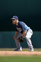 Tampa Bay Rays second baseman Ryan Brett (29) during a Spring Training game against the Baltimore Orioles on March 14, 2015 at Ed Smith Stadium in Sarasota, Florida.  Tampa Bay defeated Baltimore 3-2.  (Mike Janes/Four Seam Images)
