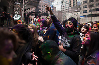 Revellers attend the Holi Hai festival organized by Indian community in New York City March 31, 2013. Photo by Eduardo Munoz Alvarez / VIEWpress.