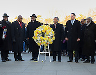 January 16, 2012  (Washington, DC)  On the holiday celebrating Dr. Martin Luther King Jr., a wreath was laid at his monument in Washington. (2nd from left to right)  Robert G. Stanton, Senior Advisor to Interior Secretary Ken Salazar; Harry E. Johnson, president/CEO MLK Memorial Project Foundation; Al Sharpton, president-National Action Network and host MSNBC Politics Nation; Vincent Gray, Mayor, District of Columbia; Dick Gregory, comedian/activist.   (Photo by Don Baxter/Media Images International)