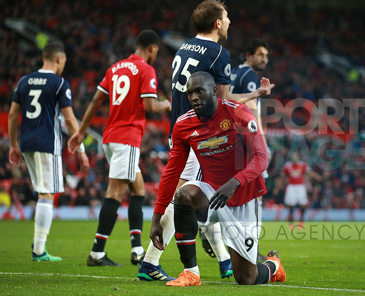 Romelu Lukaku of Manchester United on his knees dejected during the premier league match at the Old Trafford Stadium, Manchester. Picture date 15th April 2018. Picture credit should read: Simon Bellis/Sportimage