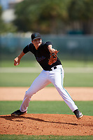 GCL Marlins pitcher Anthony Maldonado (48) during a Gulf Coast League game against the GCL Astros on August 8, 2019 at the Roger Dean Chevrolet Stadium Complex in Jupiter, Florida.  GCL Marlins defeated GCL Astros 5-4.  (Mike Janes/Four Seam Images)