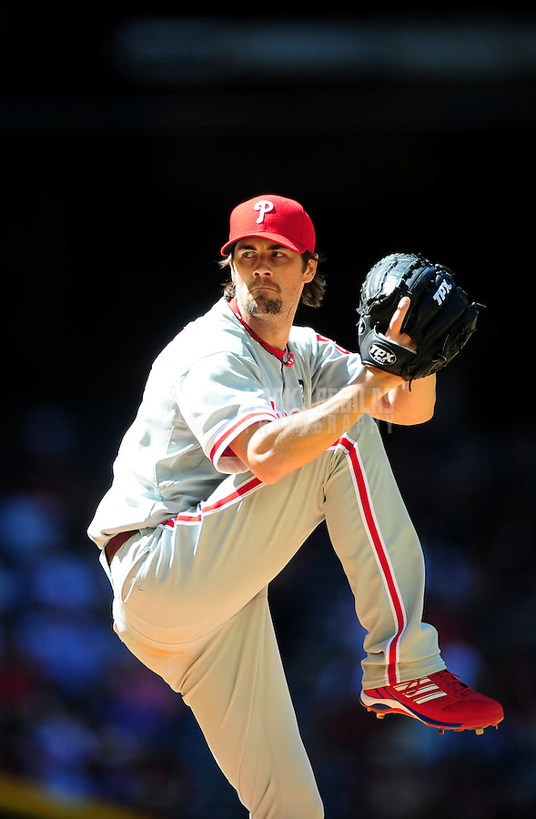 Apr. 27, 2011; Phoenix, AZ, USA; Philadelphia Phillies pitcher Cole Hamels against the Arizona Diamondbacks at Chase Field. Mandatory Credit: Mark J. Rebilas-