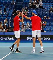3rd January 2020; RAC Arena, Perth, Western Australia; ATP Cup Australia, Perth, Day 1, Russia versus Italy; Karen Khachanov and Daniel Medvedev win the doubles against team Italy 2 sets to love - Editorial Use