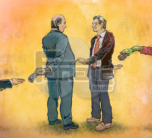 Businessmen exchanging bribes