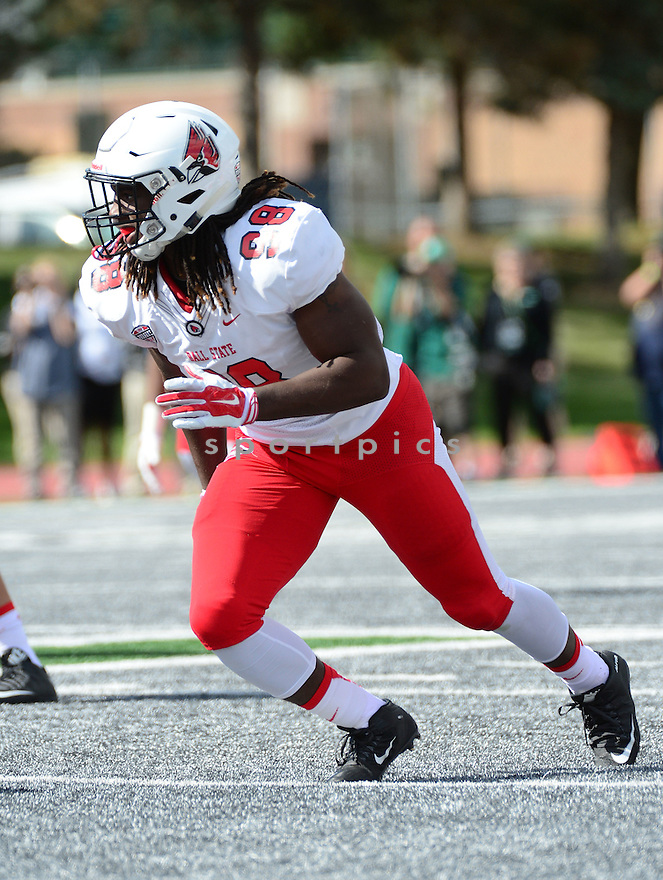 Ball State Cardinals Anthony Winbush (98) during a game against the Eastern Michigan Eagles on September 19, 2015 at Rynearson Stadium in Ypsilanti, MI. Ball State beat Eastern Michigan 28-17.
