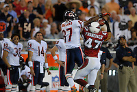 Oct. 16, 2006; Glendale, AZ, USA; Arizona Cardinals safety (47) Aaron Francisco intercepts a pass intended for Chicago Bears wide receiver (87) Muhsin Muhammad at University of Phoenix Stadium in Glendale, AZ. Mandatory Credit: Mark J. Rebilas