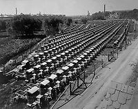 Mighty battalion of Mack war trucks, all for the Engrs.  Corps. Manufactured by the International Motor Co., Allentown, Pa.   Ca.  1918.   G. W. King. (War Dept.)<br />