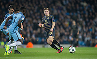 James Forrest of Celtic plays a pass during the UEFA Champions League GROUP match between Manchester City and Celtic at the Etihad Stadium, Manchester, England on 6 December 2016. Photo by Andy Rowland.