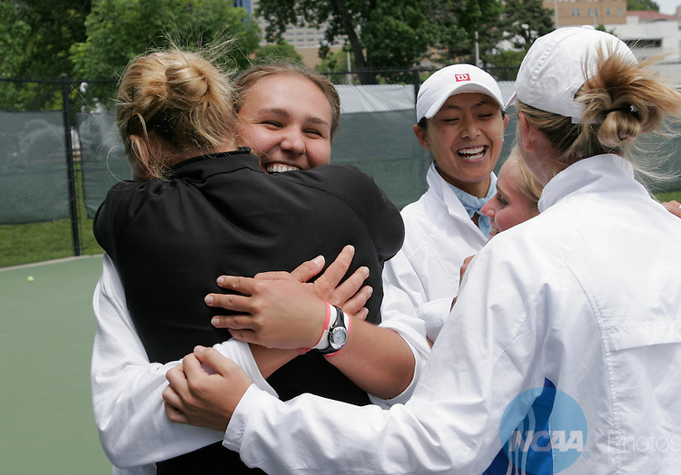 13 MAY 2006:   BYU-Hawaii's Ramona Husaru (facing camera) shares in hugs after her team beat Armstrong Atlantic State for the Division II Women?s Tennis Championship, held at the Plaza Tennis Center in Kansas City, MO.   Reed Hoffmann/NCAA Photos