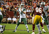 New York Jets quarterback Sam Darnold (14) looks for a receiver in first quarter action against the Washington Redskins at FedEx Field in Landover, Maryland on Thursday, August 16, 2018.<br /> Credit: Ron Sachs / CNP<br /> (RESTRICTION: NO New York or New Jersey Newspapers or newspapers within a 75 mile radius of New York City)
