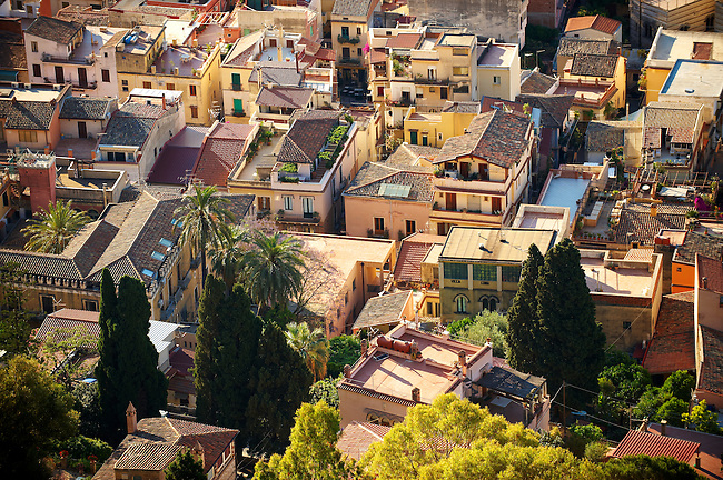 Roof top Arial view of Taormina Sicily, Italy