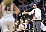 SIOUX FALLS, SD: MARCH 4: IUPUI head women's basketball coach Austin Parkinson shouts to his team against North Dakota State on March 4, 2017 during the Summit League Basketball Championship at the Denny Sanford Premier Center in Sioux Falls, SD. (Photo by Dick Carlson/Inertia)