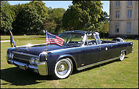 BNPS.co.uk (01202 558833)<br /> Picture: Bonhams/BNPS<br /> <br /> ****Please use full byline****<br /> <br /> Poignant slice of American history.<br /> <br /> The twin of the Presidential limousine John F. Kennedy was assassinated on 22nd November 1963 in Dallas is coming up for auction at Bonhams.<br /> <br /> One of only two ever made, the stretched Lincoln Continental convertible was commissioned by the White House in 1963 - the same year as JFK's death - as an exact replica of the one already used by him.<br /> <br /> Featuring secret service footplates and running boards, radio telephone system, extra wide doors with the Presidential seal, and even Stars and stripes flags for the bonnet. <br /> <br /> The 21ft, 3.5 ton monster was powered by a massive 440 inch V8 engine and is expected to sell for over &pound;150,000 at auction.