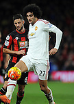 Marouane Fellaini of Manchester United is challenged by Andrew Surman of Bournemouth<br /> - Barclays Premier League - Bournemouth vs Manchester United - Vitality Stadium - Bournemouth - England - 12th December 2015 - Pic Robin Parker/Sportimage