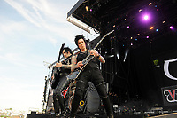 DERBY, ENGLAND - JUNE 10: Jinxx and Jake Pitts of 'Black Veil Brides ' performing at Download Festival, Donington Park on June 10, 2018 in Derby.<br /> CAP/MAR<br /> &copy;MAR/Capital Pictures
