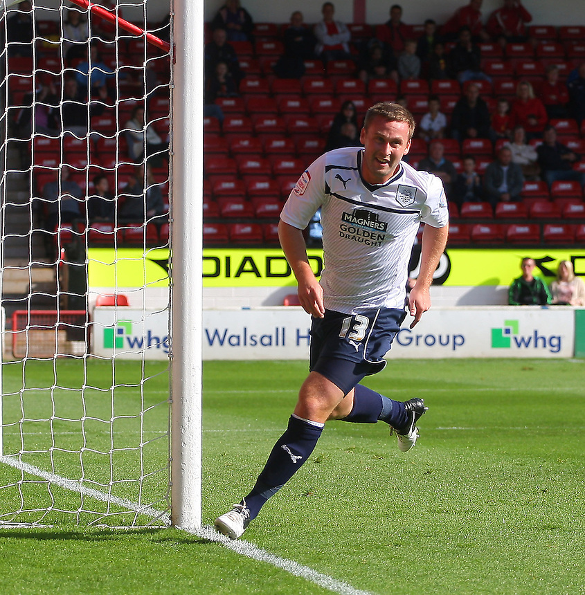 Preston North End's Joel Byrom celebrates scoring the opening goal..Football - npower Football League Division One - Walsall v Preston North End - Saturday 22nd September 2012 - Banks's Stadium - Walsall..