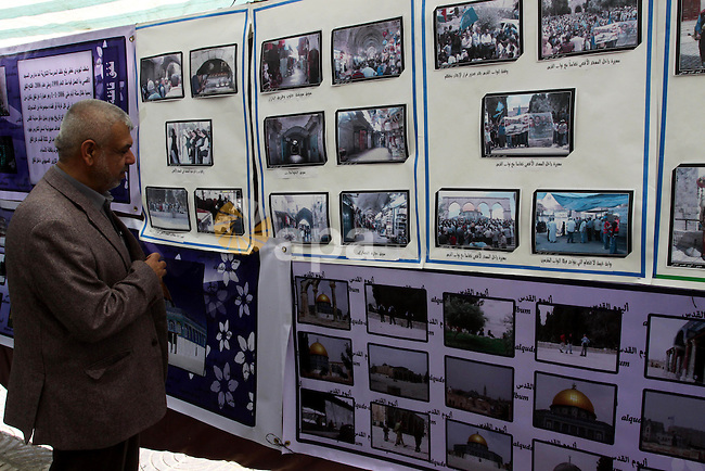 Palestinians participate in an exhibition in solidarity with Jerusalem and Jerusalem's Hamas lawmakers, in Gaza city on Feb. 23, 2011. Photo by Mohammed Asad
