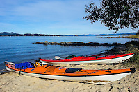 Hundvåg, Stavanger, Norway. Kayaks on the beach.