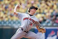 Indianapolis Indians starting pitcher Tyler Glasnow (18) delivers a pitch during a game against the Buffalo Bisons on August 17, 2017 at Coca-Cola Field in Buffalo, New York.  Buffalo defeated Indianapolis 4-1.  (Mike Janes/Four Seam Images)