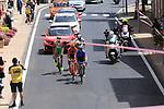 The breakaway group, Lukasz Owsian (POL) CCC Sprandi Polkowice, Simone Andreetta (ITA) Bardiani CSF, Evgeny Shalunov (RUS) Gazprom-Rusvelo, Daniel Teklehaimanot (ERI) Dimension Data and Ilia Koshevoy (BLR) Wilier Triestina-Selle Italia, pass through Ala dei Sardi during Stage 2 of the 100th edition of the Giro d'Italia 2017, running 221km from Olbia to Tortoli, Sardinia, Italy. 6th May 2017.<br /> Picture: Eoin Clarke | Cyclefile<br /> <br /> <br /> All photos usage must carry mandatory copyright credit (&copy; Cyclefile | Eoin Clarke)