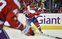 WASHINGTON, DC - MARCH 26: Washington Capitals left wing Alex Ovechkin (8) take a slapshot on net during the Carolina Hurricanes vs. Washington Capitals NHL game March 26, 2019 at Capital One Arena in Washington, D.C.. (Photo by Randy Litzinger/Icon Sportswire)