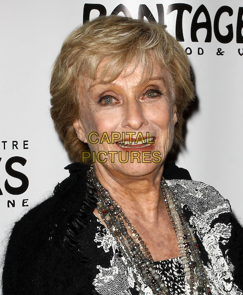 "CLORIS LEACHMAN.Broadway Musical Los Angeles premiere Of  ""In the Heights"" held at The Pantages Theatre, Hollywood, CA, USA..June 23rd, 2010.headshot portrait black grey  gray top pattern silver necklaces .CAP/ADM/KB.©Kevan Brooks/AdMedia/Capital Pictures."