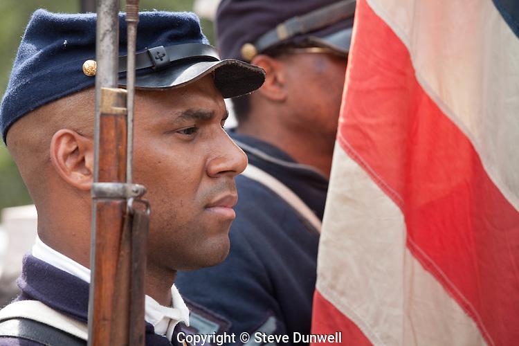 54th Regiment re-enactors at Shaw Memorial, Boston, MA