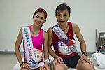 Taiwan Female Champion Yafen Chen (left) and Taiwan Male Champion Yi-Hsun Li (right) during the Wings for Life World Run on 08 May, 2016 in Yilan, Taiwan. Photo by Lucas Schifres / Power Sport Images