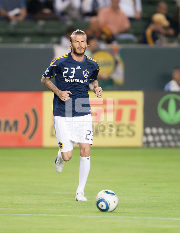 CARSON, CA – NOVEMBER 14: LA Galaxy midfielder David Beckham (23) before the Western Conference Final soccer match at the Home Depot Center, November 14, 2010 in Carson, California. Final score LA Galaxy 0, Dallas FC 3.