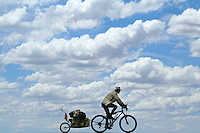 Don Thomas rides through the clouds - outside of San Rafael - Argentina