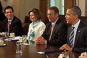 United States President Barack Obama meets with Congressional leaders from left to right: U.S. House Majority Leader Eric Cantor (Republican of Virginia), U.S. House Minority Leader Nancy Pelosi (Democrat of California), Speaker of the U.S. House John Boehner (Republican of Ohio), and President Obama in the Cabinet Room of the White House in Washington, D.C., U.S., on Thursday, July 7, 2011. The Obama administration and congressional leaders are seeking an accord to lower the deficit during the next 10 to 12 years to pave the way for a vote to increase the $14.3 trillion debt limit, and the tax issue looms as the major obstacle to a deal. Photographer: Andrew Harrer/Bloomberg *** Local Caption *** Barack Obama; John Boehner; Nancy Pelosi; Eric Cantor.Credit: Andrew Harrer / Pool via CNP