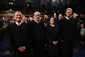 WASHINGTON, DC - JANUARY 30:  (L-R) U.S. Supreme Court Chief Justice John G. Roberts, U.S. Supreme Court Associate Justice Stephen G. Breyer, U.S. Supreme Court Associate Justice Elena Kagan, U.S. Supreme Court Associate Justice Neil M. Gorsuch  during the State of the Union address in the chamber of the U.S. House of Representatives January 30, 2018 in Washington, DC. This is the first State of the Union address given by U.S. President Donald Trump and his second joint-session address to Congress.<br /> Credit: Win McNamee / Pool via CNP