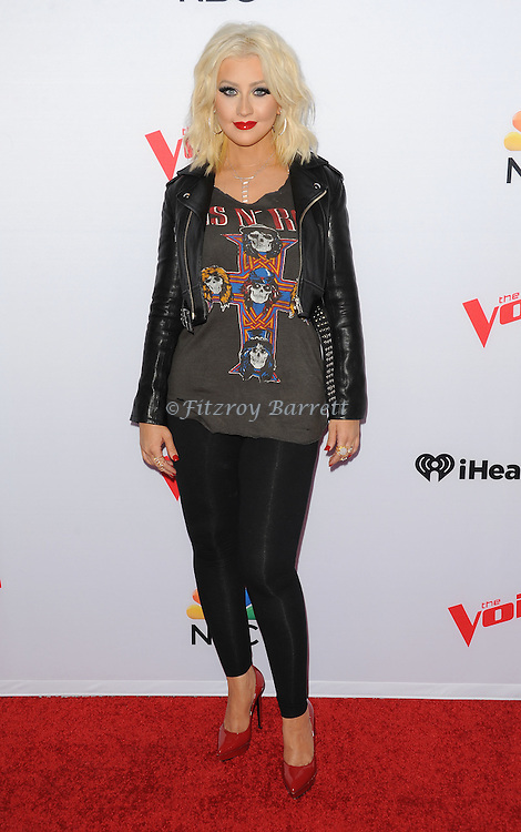 Christina Aguilera arriving NBC's The Voice Season 8 Red Carpet Event held at the Pacific Design Center Los Angeles CA. April 23, 2015