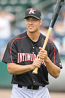 Pitcher Spencer Arroyo (20) of the Kannapolis Intimidators, Class A affiliate of the Chicago White Sox, prior to a game against the Greenville Drive on May 26, 2011, at Fluor Field at the West End in Greenville, S.C. The game was postponed due to rain. (Tom Priddy / Four Seam Images)
