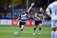 George Ford of Bath Rugby kicks for the posts. Aviva Premiership match, between Bath Rugby and Exeter Chiefs on October 17, 2015 at the Recreation Ground in Bath, England. Photo by: Patrick Khachfe / Onside Images