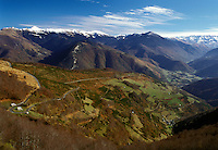 France, The Pyrenees, Col d'Aspin, Midi-Pyrenees, Hautes-Pyrenees, Europe, Scenic view of the Pyrenees Mountains and countryside in Col d'Aspin.